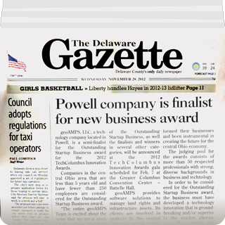 The Deleware Gazette covers GeoAMPS Outstanding Startup Business Award 2012